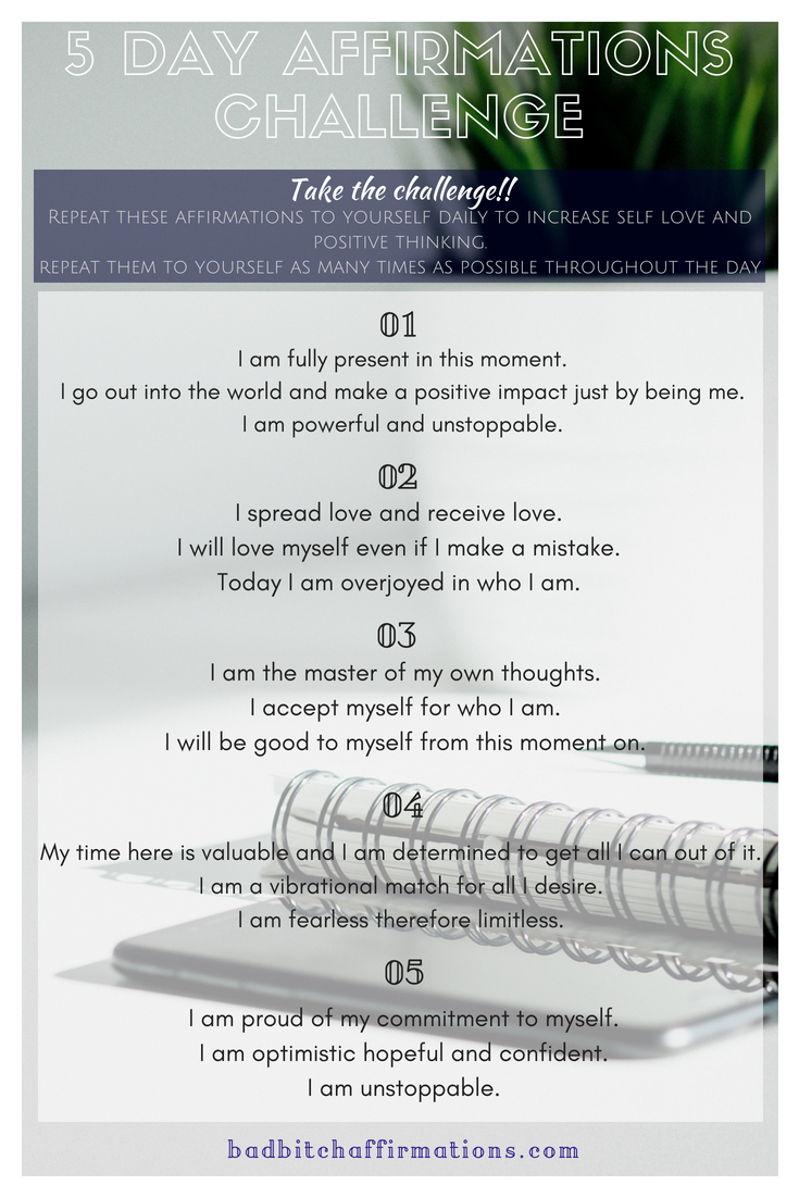 affirmations challenge page