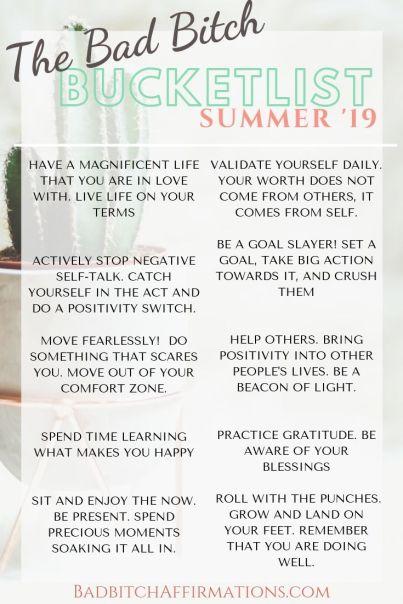 19 Summer Bucket list